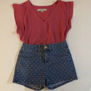 LIKE NEW*SO Polka Dot Jean Shorts - Size 1